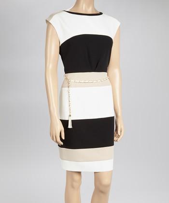Sandra Darren Ivory & Neutral Stripe Belted Sheath Dress