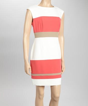 Sandra Darren Ivory & Coral Stripe Sheath Dress
