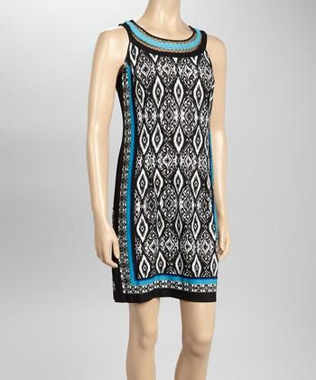 Sandra Darren Black & Ivory Ikat Yoke Neck Shift Dress
