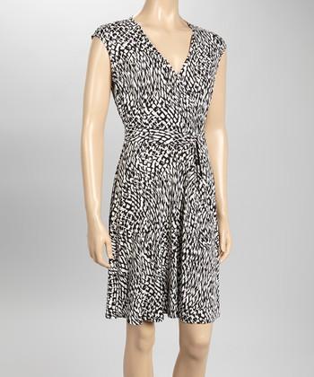 Sandra Darren Black & Off-White Sash-Tie Surplice Dress
