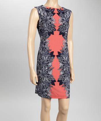 Sandra Darren Navy & Coral Floral Sheath Dress