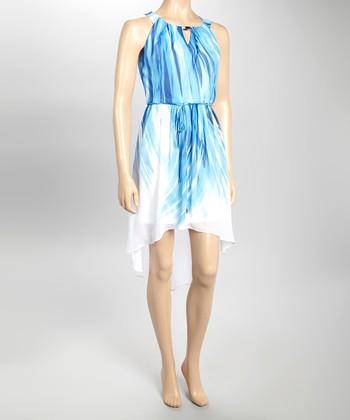 Sandra Darren Blue Hi-Low Blouson Dress