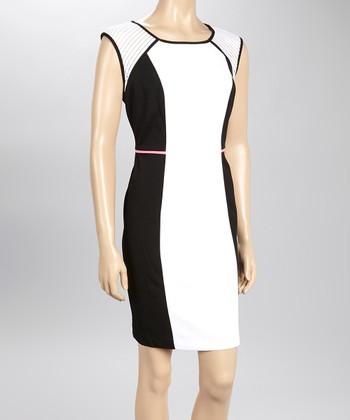Sandra Darren Ivory & Black Color Block Sheath Dress