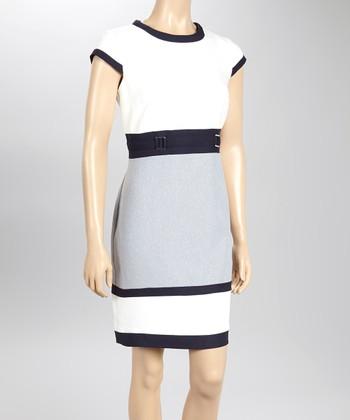 Sandra Darren Ivory & Navy Cap-Sleeve Sheath Dress