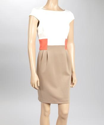Sandra Darren Ivory & Camel Color Block Cap-Sleeve Dress