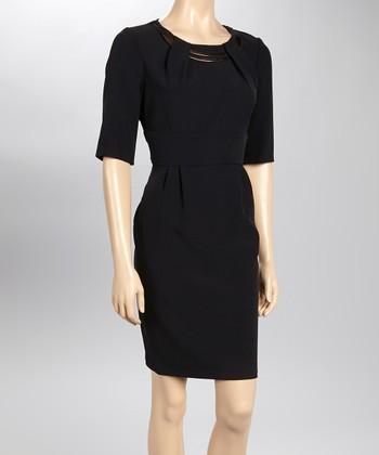 Sandra Darren Black Pleated Embellished Sheath Dress