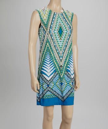 Sandra Darren Lime & Blue Geometric Sheath Dress
