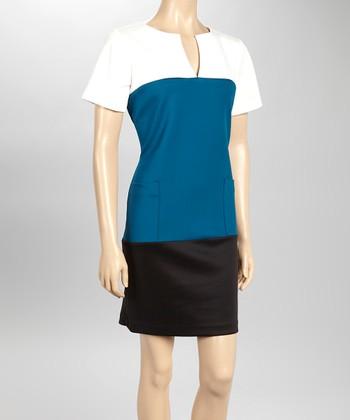 Sandra Darren Ivory & Deep Peacock Pocket Sheath Dress