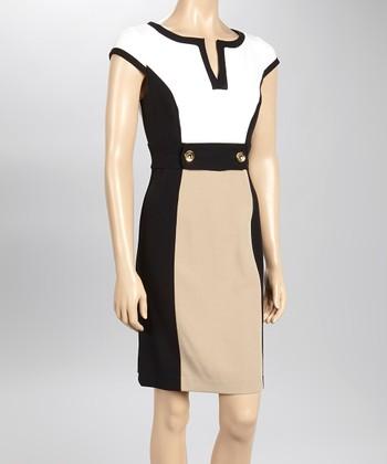 Sandra Darren Ivory & Black Color Block Cap-Sleeve Sheath Dress