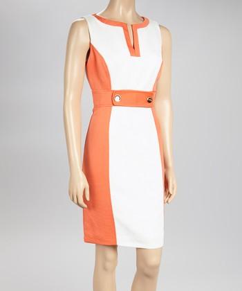 Sandra Darren Orange & White Color Block Sheath Dress