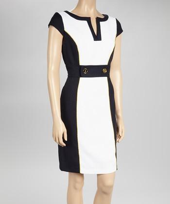 Sandra Darren White & Navy Color Block Cap-Sleeve Sheath Dress