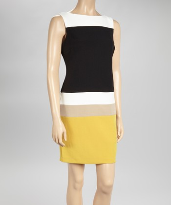 Sandra Darren Ivory & Corn Stripe Sleeveless Sheath Dress