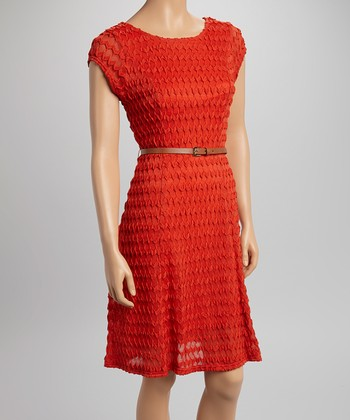 Sharagano Orange Zigzag Textured Belted Cap-Sleeve Dress