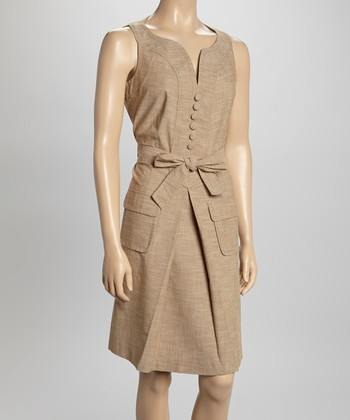 Sharagano Tan Sleeveless Shirt Dress
