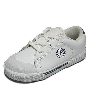 Peaks White & Navy Ace-T Leather Sneaker