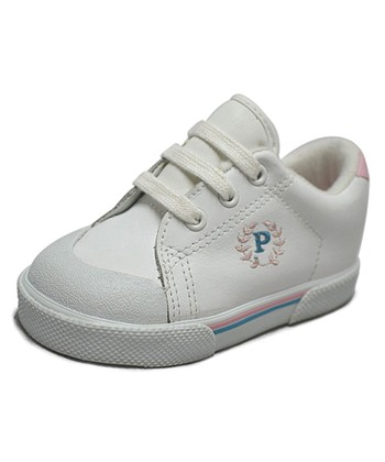 Peaks White & Pink Ace-T Leather Sneaker