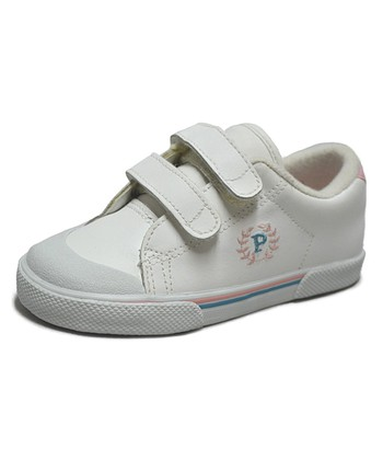 Peaks White & Pink Ace-V Leather Sneaker