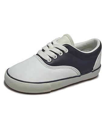 Peaks White & Navy Leather Saddle Shoe