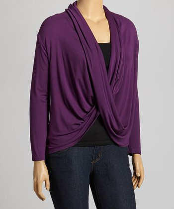 Eggplant Drape Top - Plus