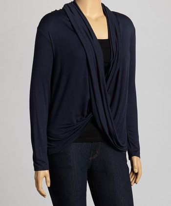 Navy Drape Top - Plus