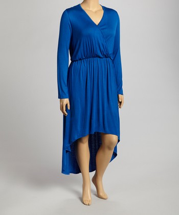 Cobalt Surplice Dress - Plus