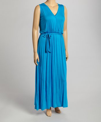 Turquoise Sleeveless Dress - Plus