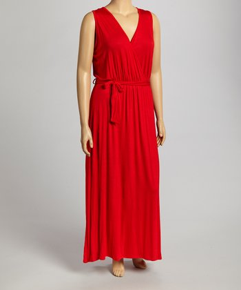 Red Sleeveless Dress - Plus