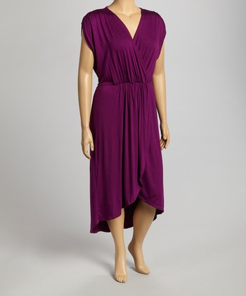 Eggplant Hi-Low Surplice Dress - Plus