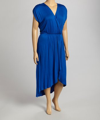 Cobalt Hi-Low Surplice Dress - Plus