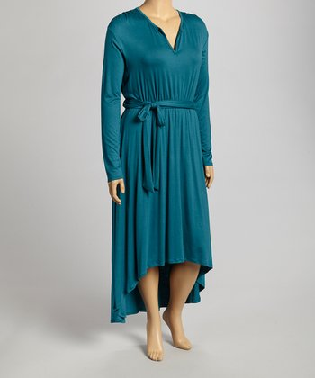 Dark Teal Hi-Low Dress - Plus