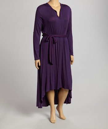 Dark Eggplant Hi-Low Dress - Plus