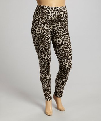Brown Leopard Leggings - Plus