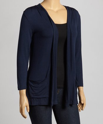 Navy Three-Quarter Sleeve Open Cardigan - Plus