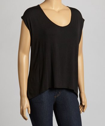 Black Open-Back Dolman Top - Plus