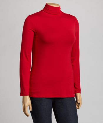 Red Turtleneck - Plus