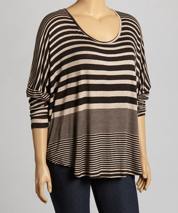 Dark Taupe Stripe Dolman Top - Plus
