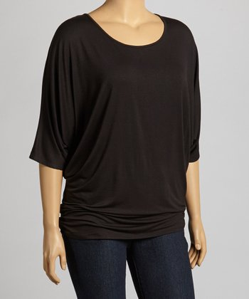 Black Cape-Sleeve Top - Plus