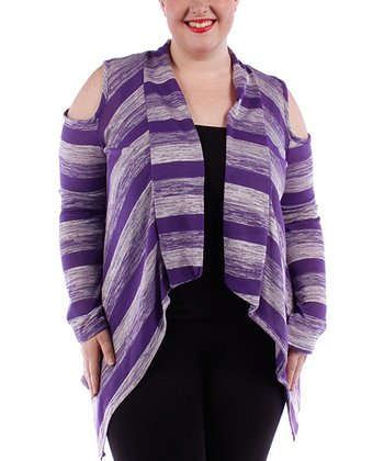 Purple Stripe Open Cardigan - Plus