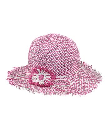 Pink & White Flower Woven Sunhat
