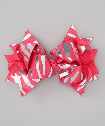Hot Pink & Silver Zebra Knotted Bow Clip