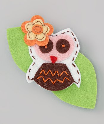 Green & Brown Owl Felt Clip