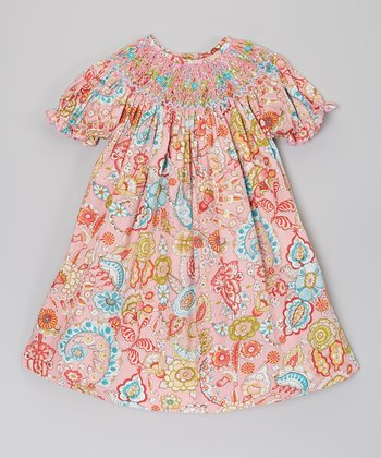 Pink Paisley Smocked Bishop Dress - Infant & Toddler
