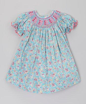 Blue Floral Smocked Bishop Dress - Infant, Toddler & Girls
