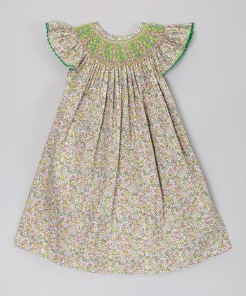 Green Floral Angel Wing Smocked Bishop Dress - Infant & Toddler