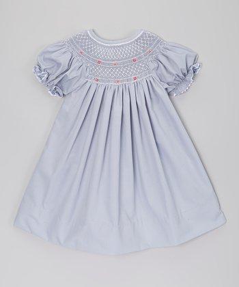 Gray Geometric Smocked Bishop Dress - Infant, Toddler & Girls
