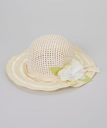 Cream Flower Woven Sunhat