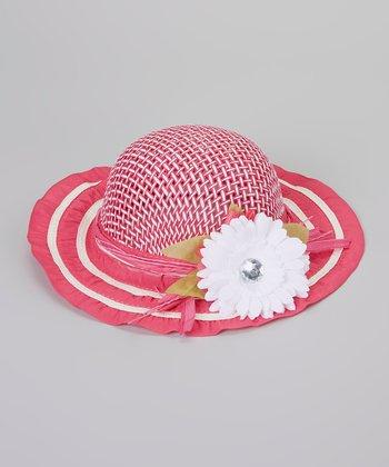 Hot Pink Flower Woven Sunhat