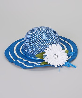 Blue Flower Woven Sunhat