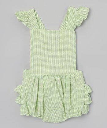 Green Ruffle Seersucker Bubble Romper - Infant & Toddler