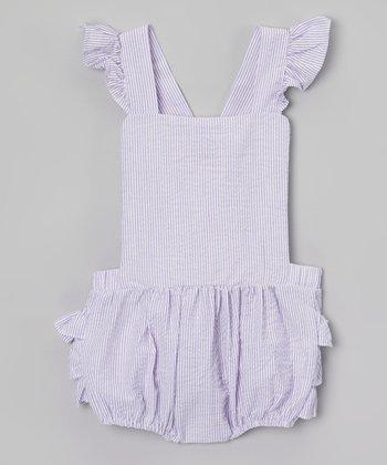 Purple Ruffle Seersucker Bubble Romper - Infant & Toddler